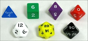 a set of polyhedral dice, including tens place