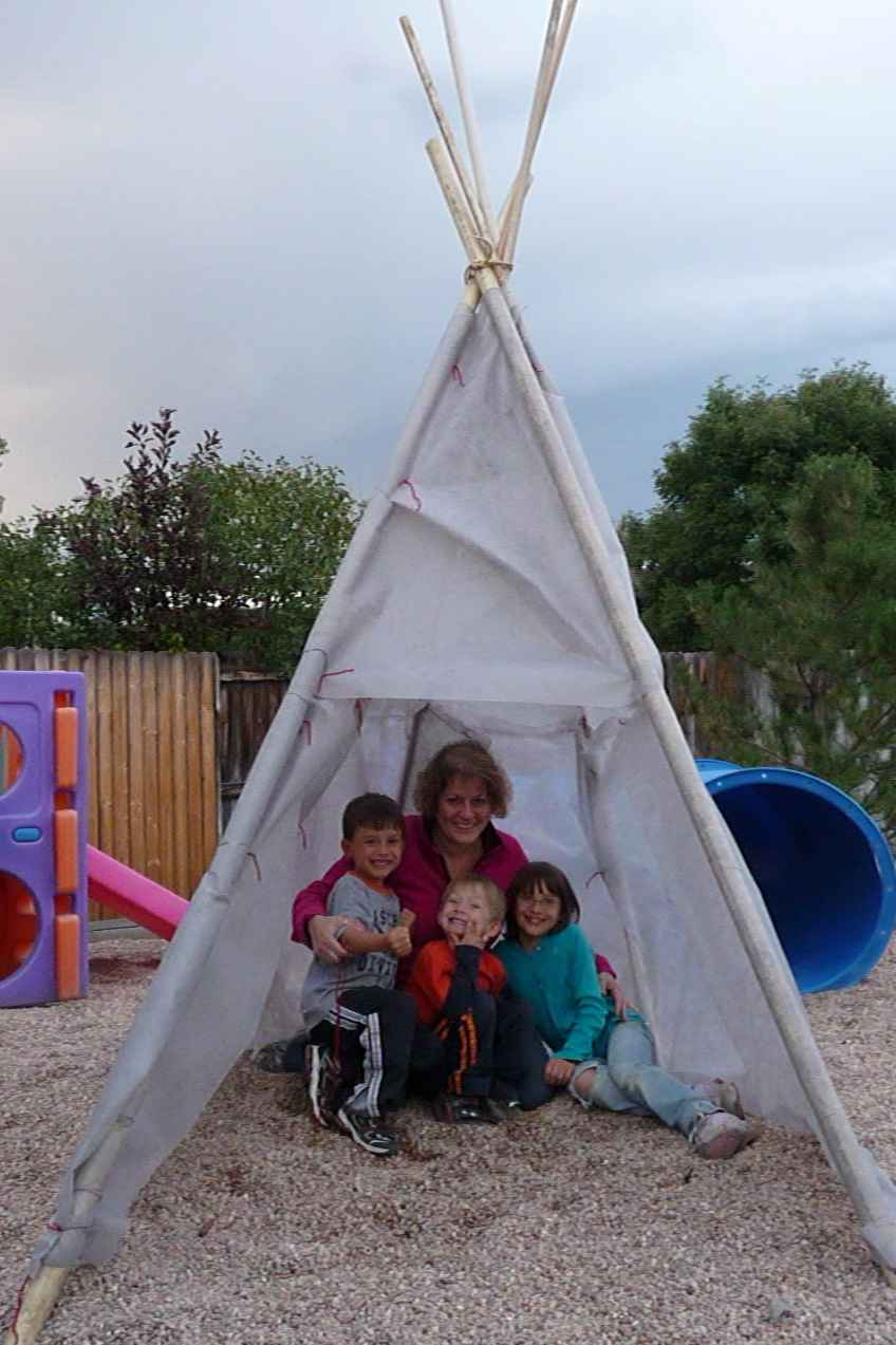 Me and the kids in finished tepee